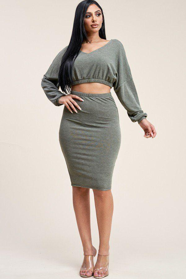 Solid Cropped Top And Skirt Two Piece Set demochatbot Olive S