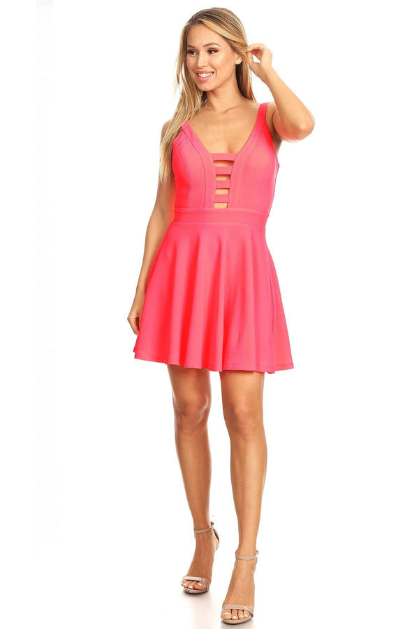 Solid Fit And Flare Dress With Back Zipper Closure, Cutouts, And Spaghetti Straps - Pinky Petals