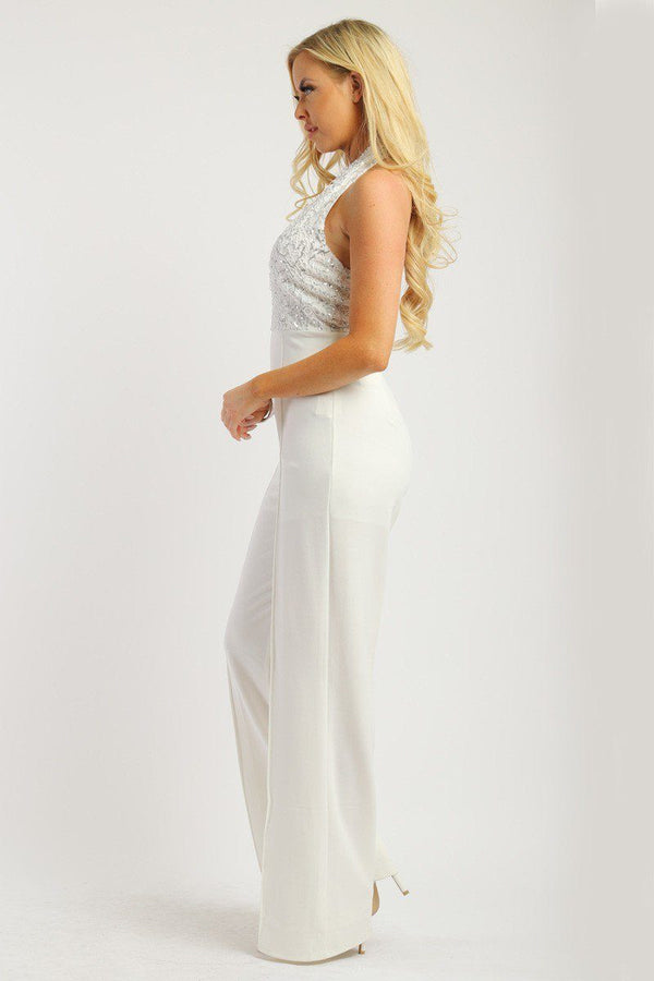 Solid Jumpsuit With Sequined Crochet Lave Halter Top demochatbot