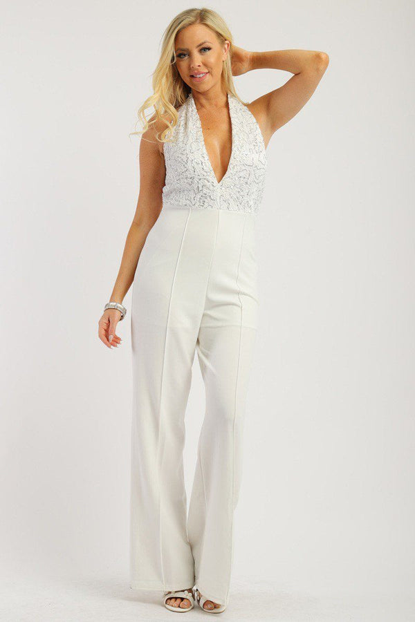 Solid Jumpsuit With Sequined Crochet Lave Halter Top demochatbot White S