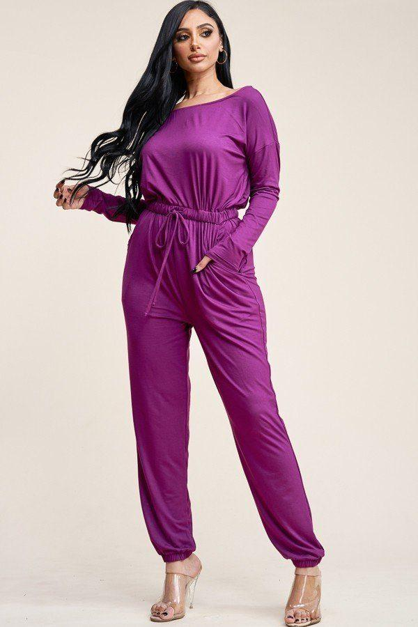Solid Rayon Spandex Slouchy Jumpsuit With Pockets demochatbot Magenta S