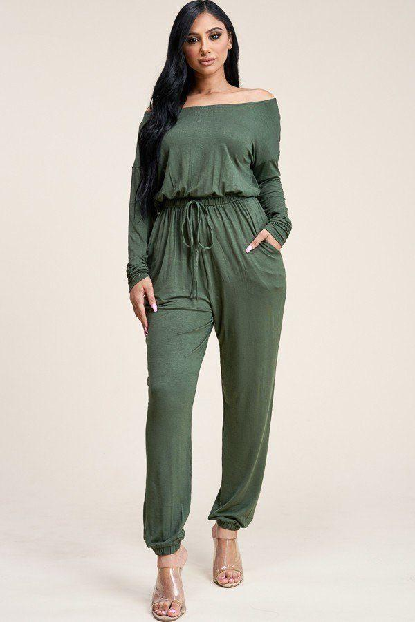 Solid Rayon Spandex Slouchy Jumpsuit With Pockets demochatbot Olive S