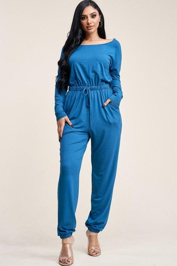 Solid Rayon Spandex Slouchy Jumpsuit With Pockets demochatbot Teal S