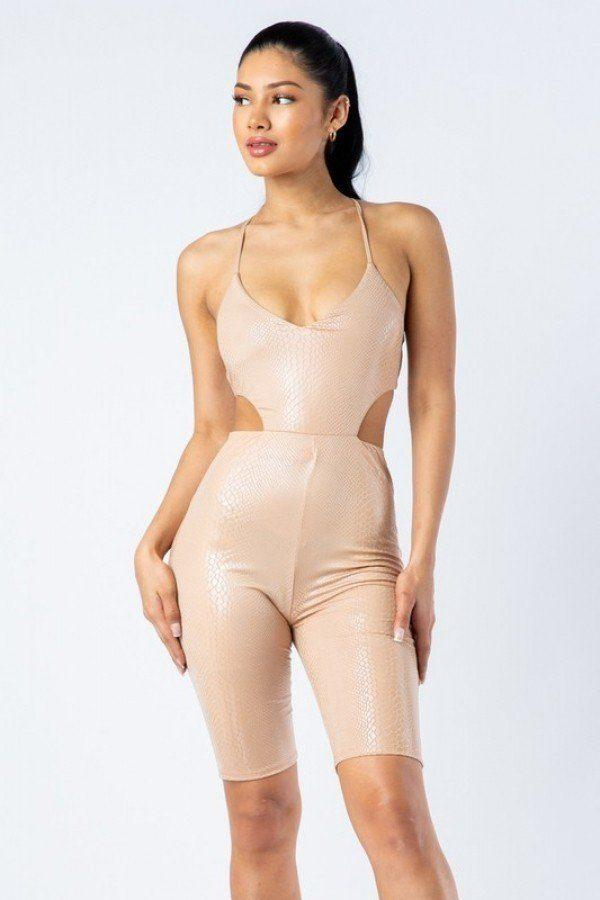 Spaghetti Strap Cut Out Detailed Biker Short Romper demochatbot Nude S