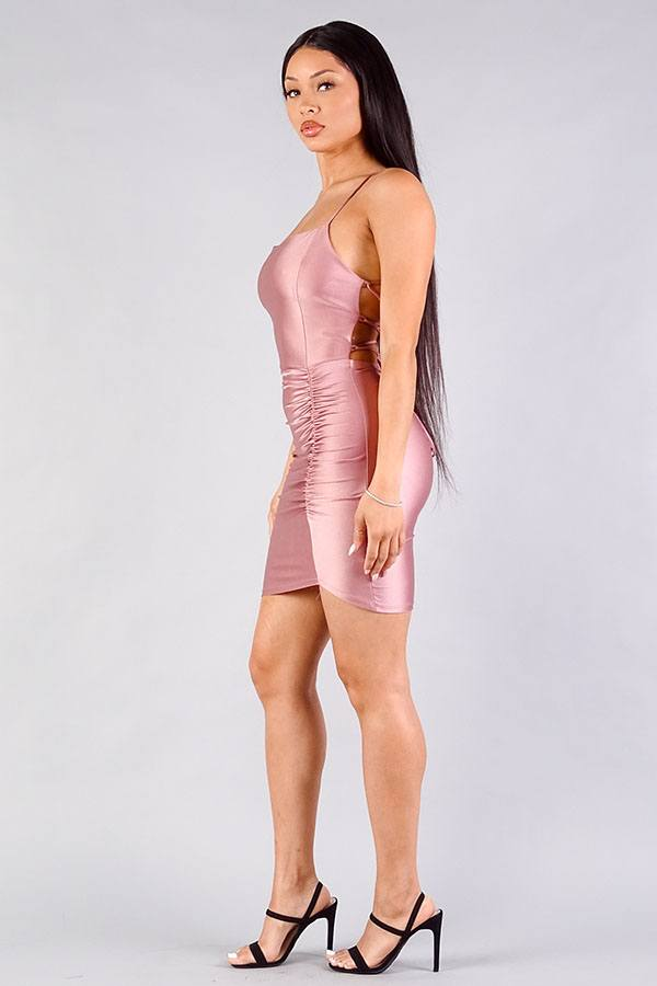 Spaghetti Strap Lace Up Back Ruched Mini Dress - Pinky Petals