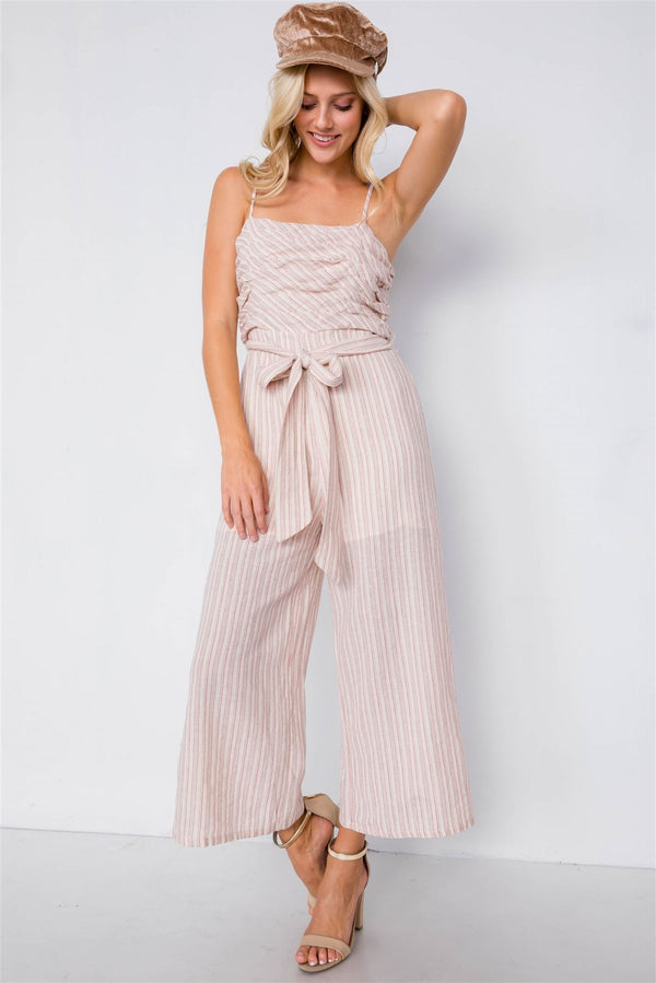 Spaghetti Strap Striped Jumpsuit demochatbot Red S