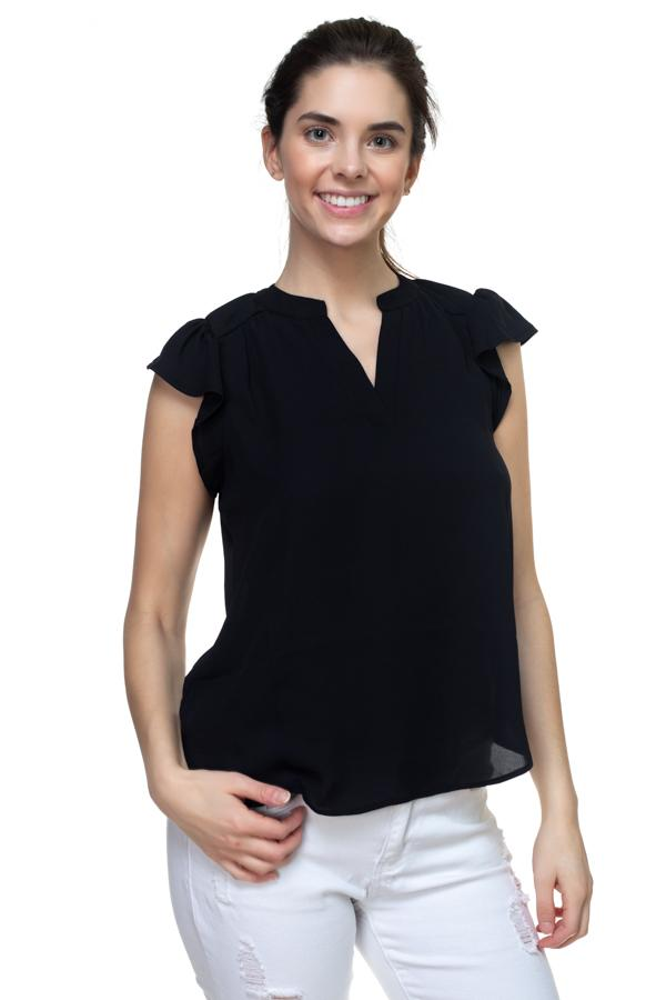 Split V Band Collar Ruffle Sleeve Top demochatbot Black S
