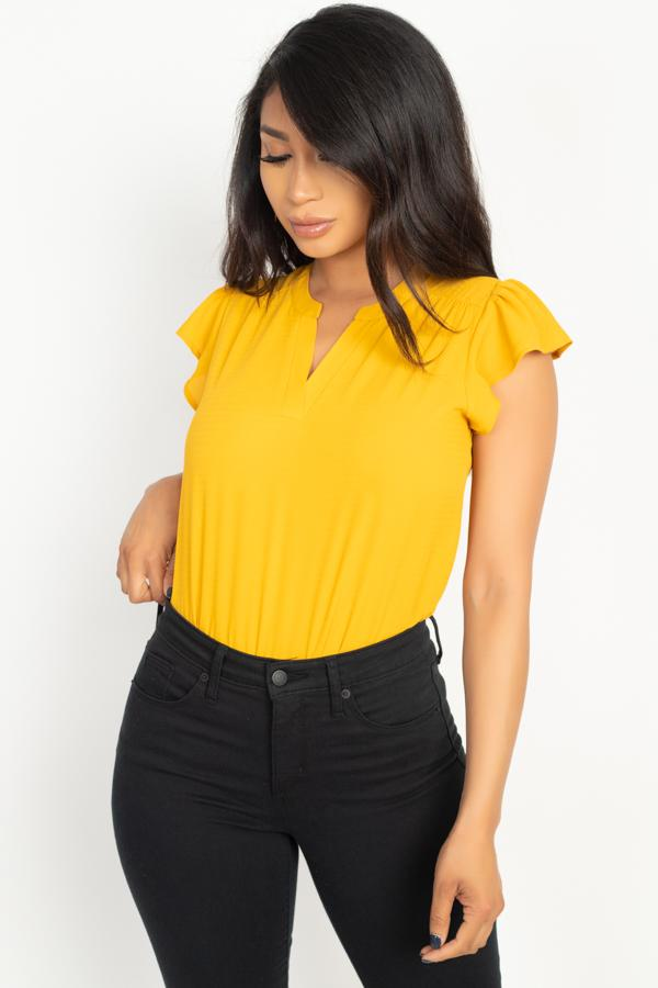 Split V Band Collar Ruffle Sleeve Top demochatbot Light Mustard S