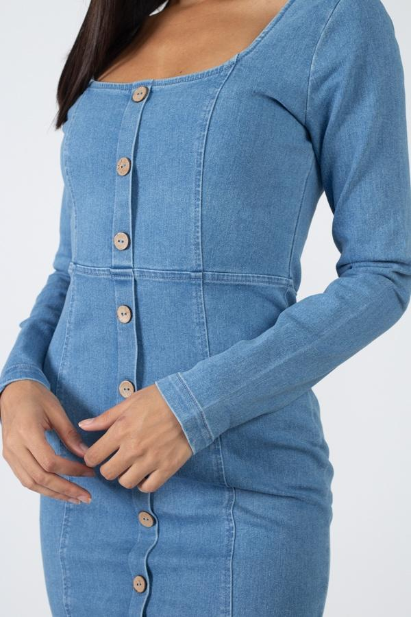 Square Neck Denim Dress - Pinky Petals