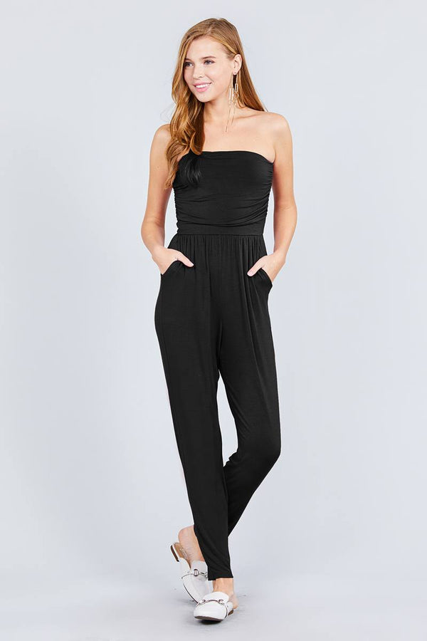 Strapless Tube Top W/front Slanted And Pocket Rayon Spandex Jumpsuit demochatbot Black S