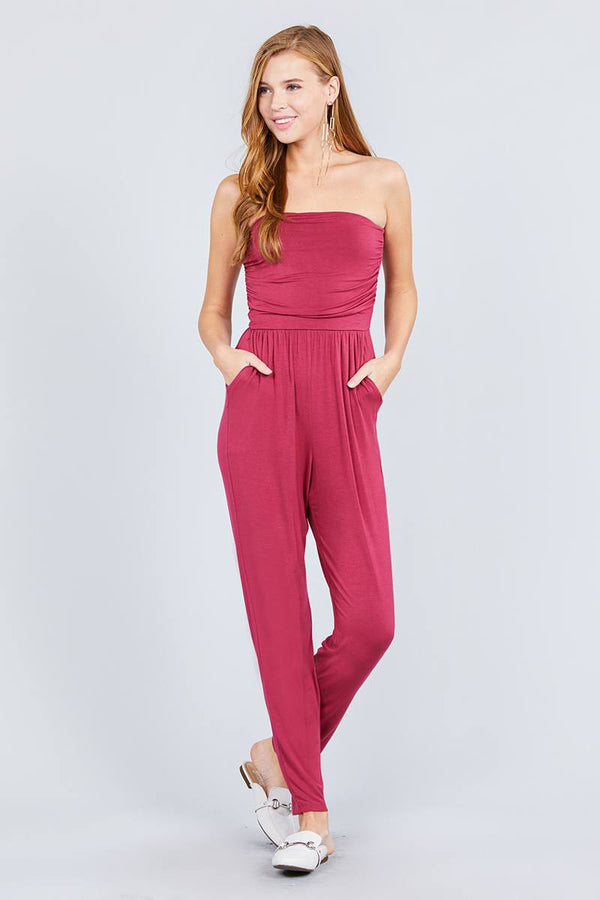 Strapless Tube Top W/front Slanted And Pocket Rayon Spandex Jumpsuit demochatbot Brick S