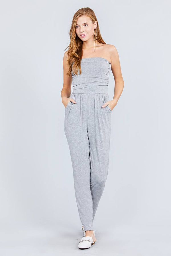 Strapless Tube Top W/front Slanted And Pocket Rayon Spandex Jumpsuit demochatbot Heather Grey S