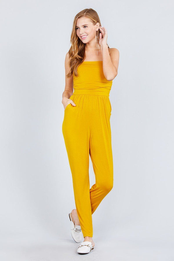 Strapless Tube Top W/front Slanted And Pocket Rayon Spandex Jumpsuit demochatbot Mustard S