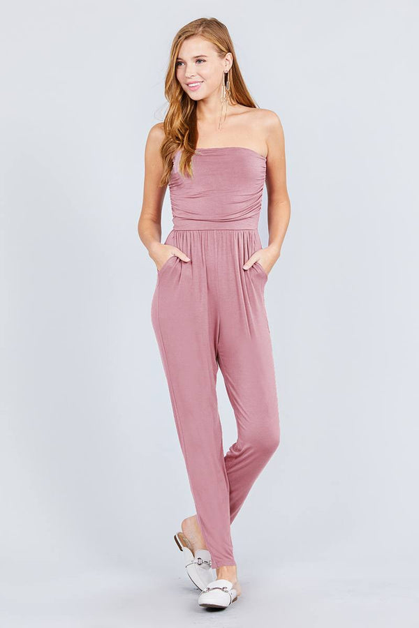 Strapless Tube Top W/front Slanted And Pocket Rayon Spandex Jumpsuit demochatbot Pink S
