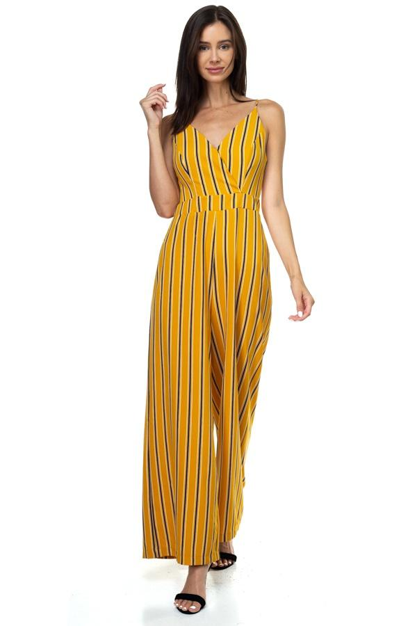 Stripe Back Self-tie Jumpsuit demochatbot