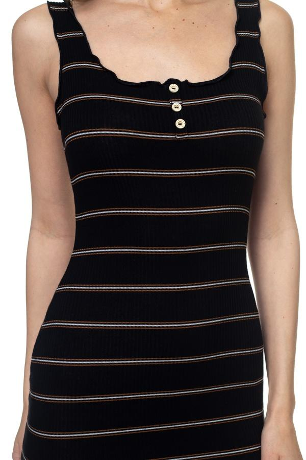 Stripe Bodycon Ribbed Dress - Pinky Petals