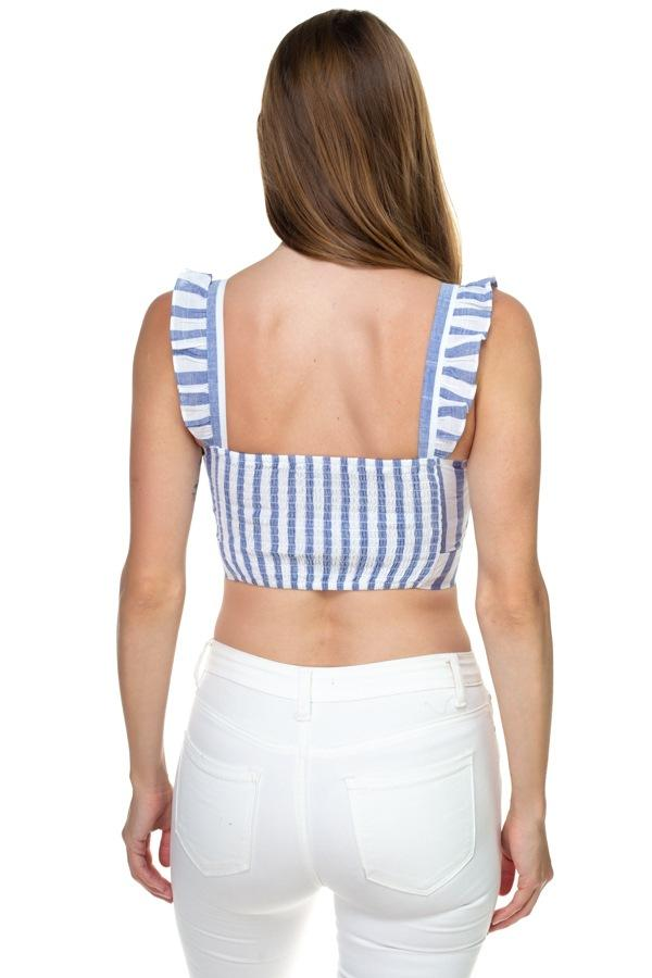 Stripe Ruffle Shoulder Strap Top demochatbot