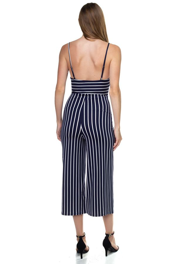 Stripe Sleeveless Jumpsuit demochatbot