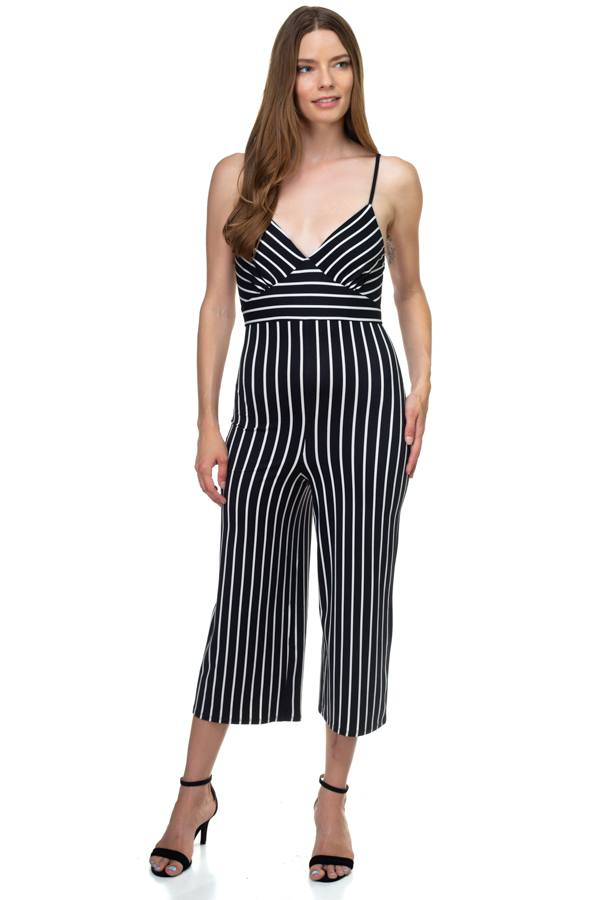 Stripe Sleeveless Jumpsuit demochatbot Black/White S