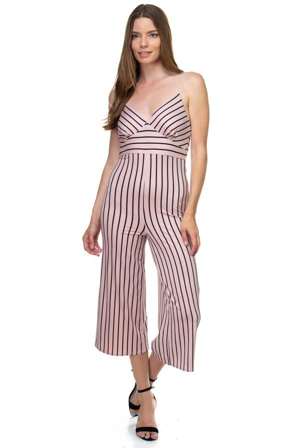 Stripe Sleeveless Jumpsuit demochatbot Mauve/Black S