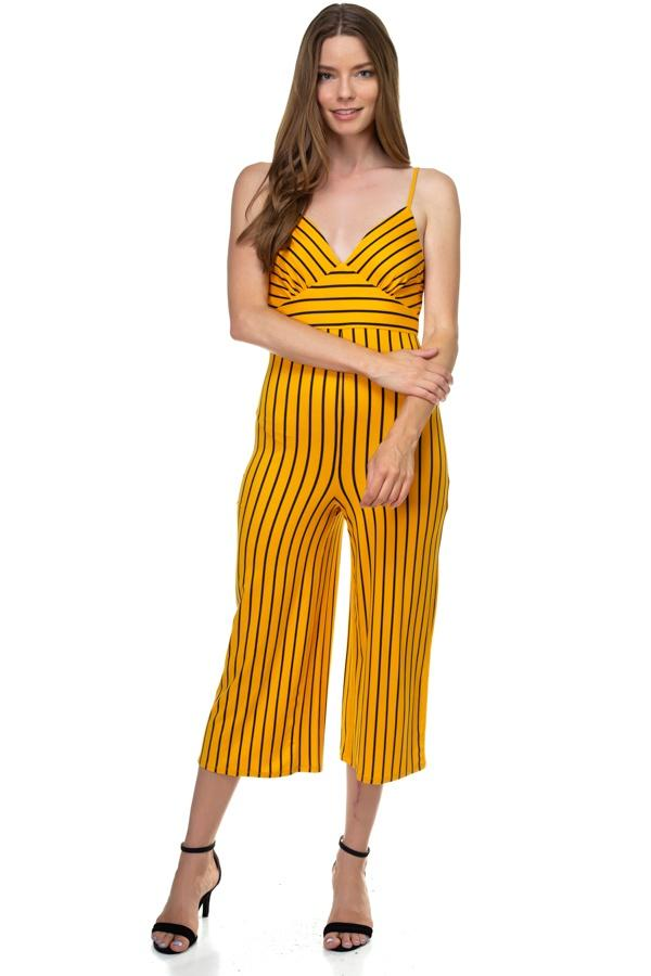 Stripe Sleeveless Jumpsuit demochatbot Mustard/Black S