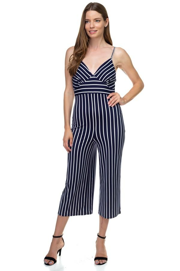 Stripe Sleeveless Jumpsuit demochatbot Navy/White S