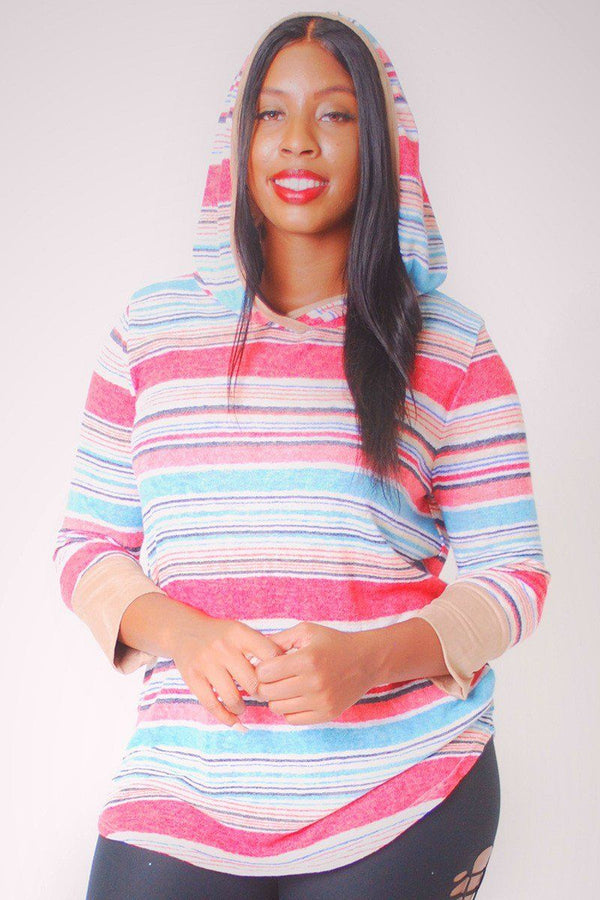 Striped, Hip Length Hoodie Top demochatbot Red 1XL