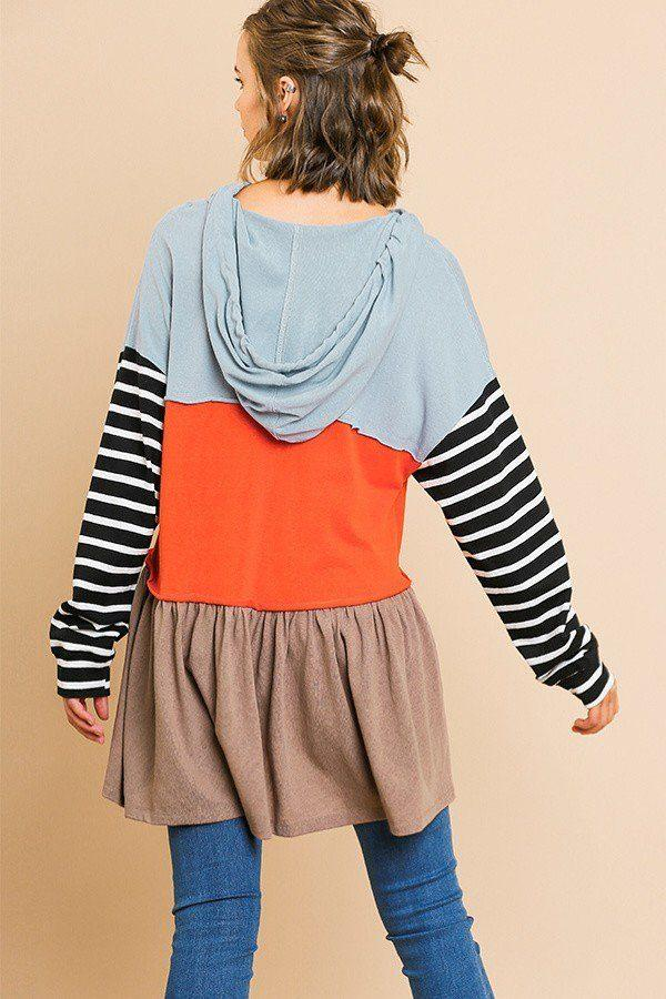 Striped Long Sleeve Color Blocked Hooded Tunic With Drawstring And Ruffle Hem demochatbot