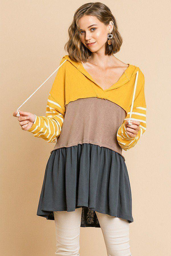 Striped Long Sleeve Color Blocked Hooded Tunic With Drawstring And Ruffle Hem demochatbot Mango/Yellow S