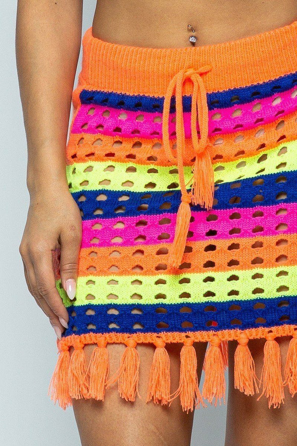 Striped Multi Color Laser Cut Cropped Halter Top/short Skirt Knit 2 Piece Set With Tassels demochatbot