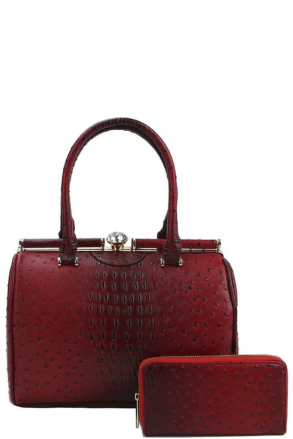 Stylish Croco Pattern Structured Doctor Bag With Matching Wallet demochatbot