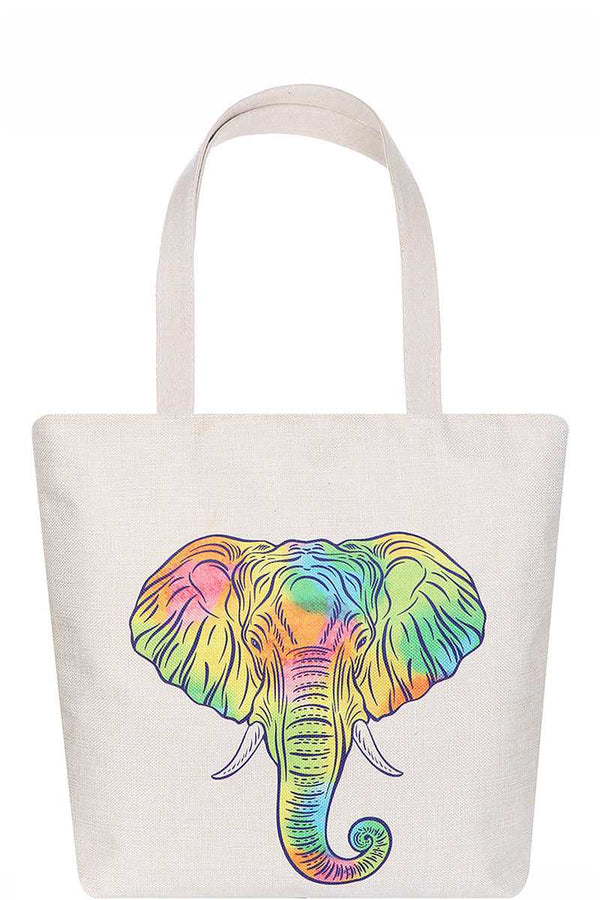 Stylish Rainbow Elephant Print Ecco Tote Bag Pinky Petals