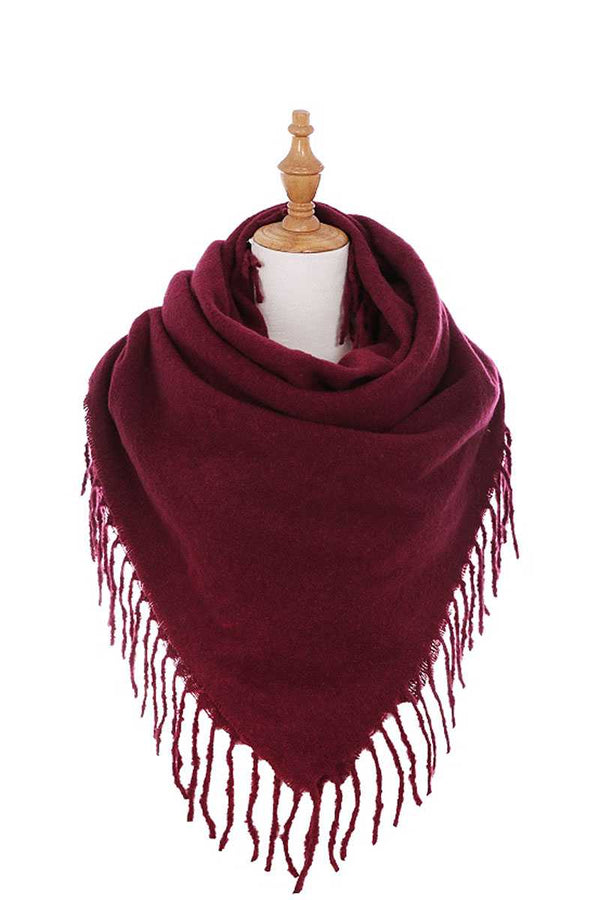Stylish Solid Color Square Scarf With Fringe demochatbot