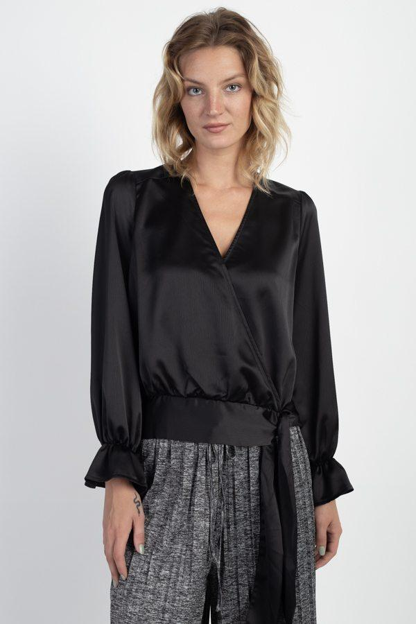 Surplice Wrap Front Top demochatbot Black S