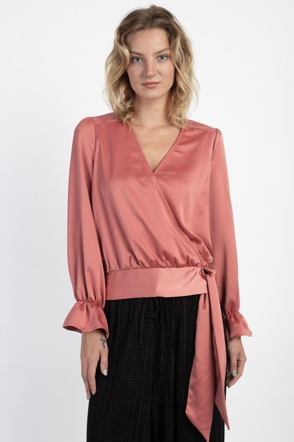 Surplice Wrap Front Top demochatbot Pomegranate S