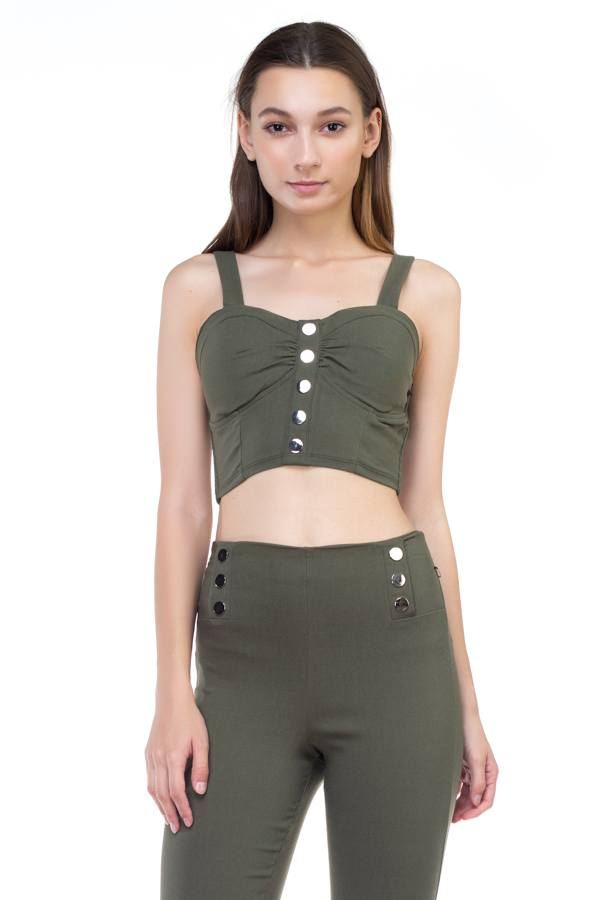 Sweetheart Button Down Crop Top demochatbot Olive S