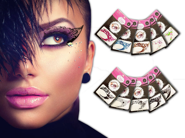 TEMPORARY EYE TATTOO 10 PAIRS - TRANSFER EYESHADOW AND EYELINER STICKERS - Pinky Petals