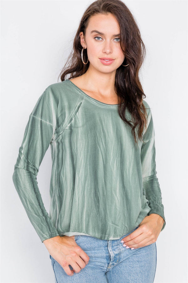 Tie-dye Print High-low Long Sleeve Top demochatbot Sage S