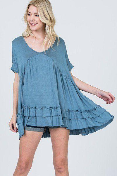 Tiered Ruffle Detail Relaxed Top demochatbot French Blue S
