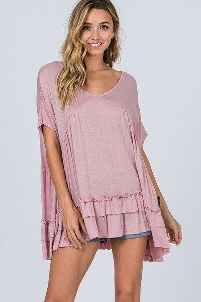 Tiered Ruffle Detail Relaxed Top demochatbot Rose S