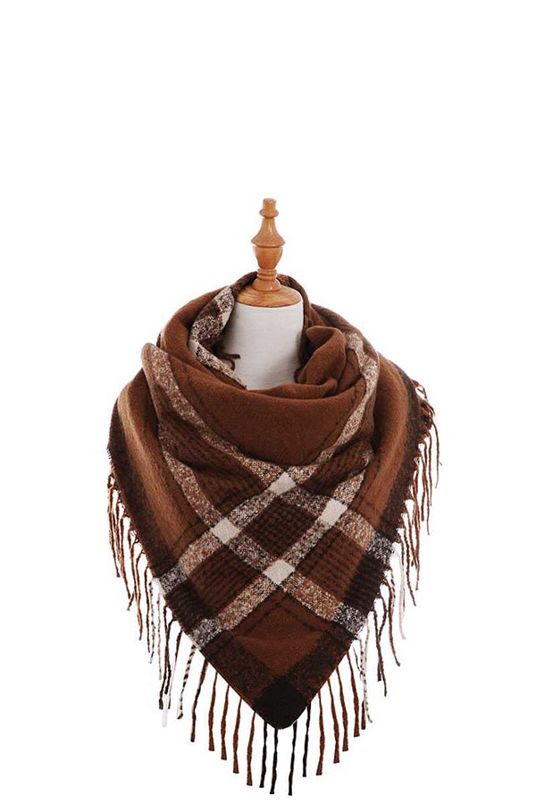 Trendy Color Block Check Square Scarf With Fringe demochatbot