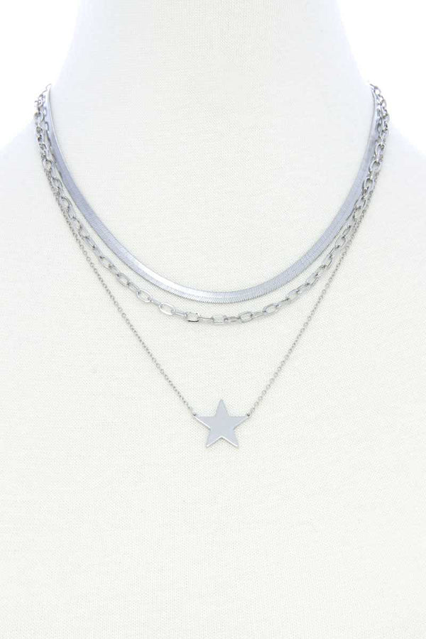 Triple Layer Star Pendant Metal Necklace Pinky Petals