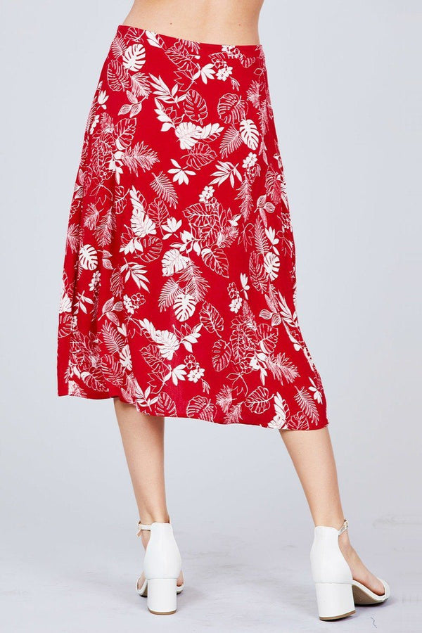 Tulip Sleeve Off The Shoulder Button Down Crop Top And Button Down Midi Skirt Set - Pinky Petals