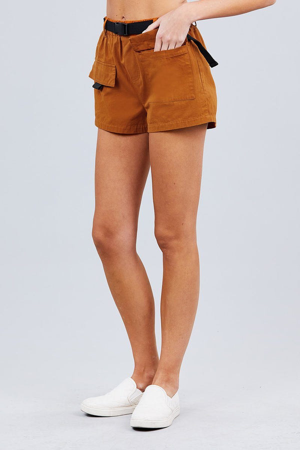 Twill Belted Side Pocket Cargo Cotton Short Pants - Pinky Petals