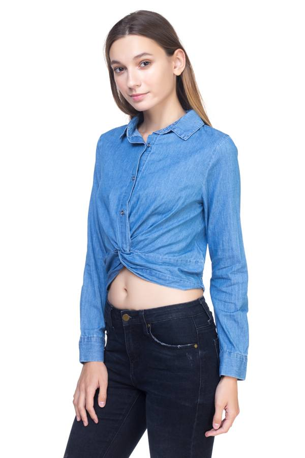 Twist Front Chambray Shirt demochatbot