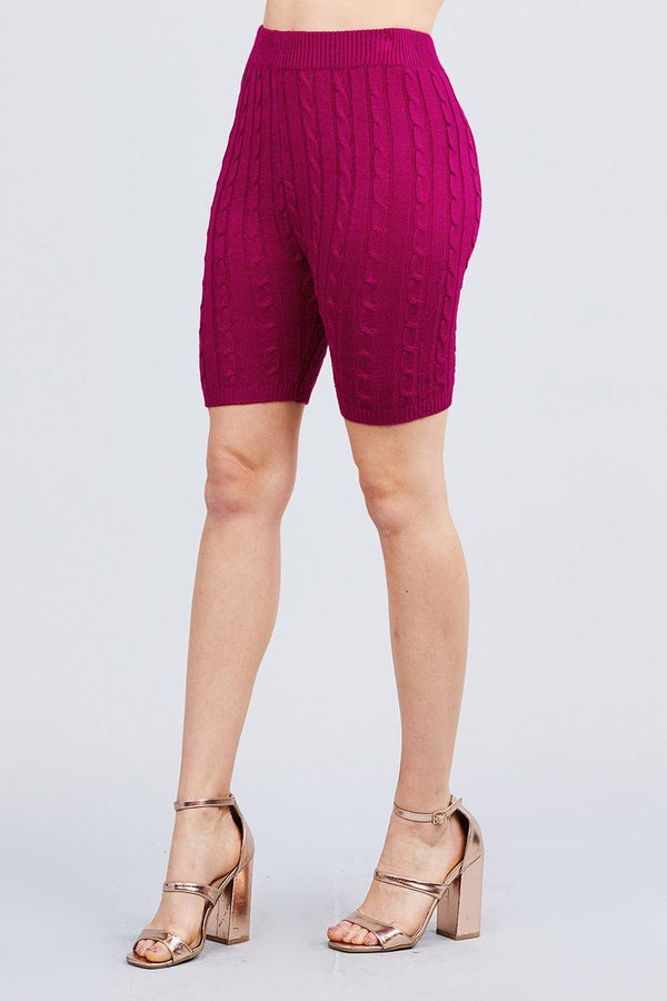 Twisted Effect Bermuda Length Sweater Shorts - Pinky Petals
