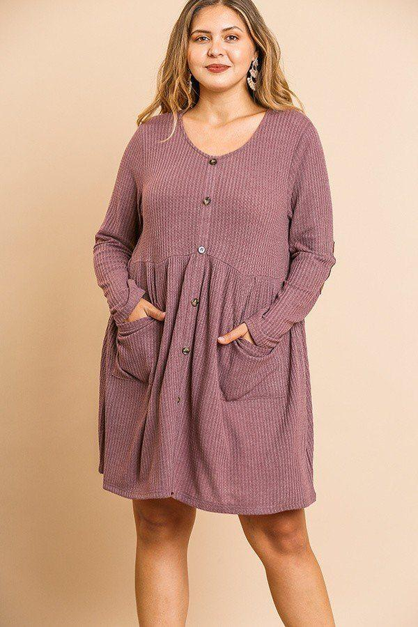 Waffle Knit Long Sleeve Round Neck Faux Button Front Babydoll Dress demochatbot Berry XL