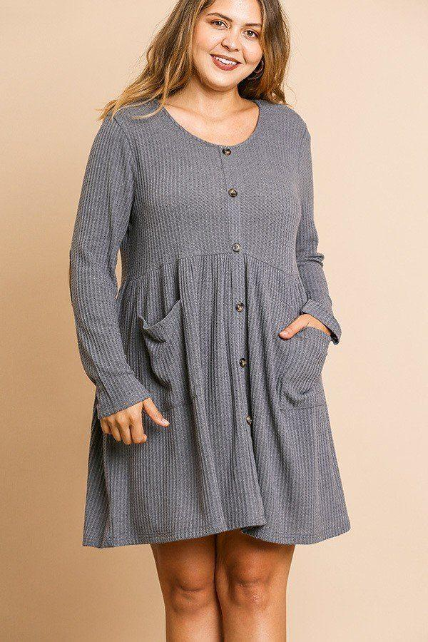 Waffle Knit Long Sleeve Round Neck Faux Button Front Babydoll Dress demochatbot Charcoal XL