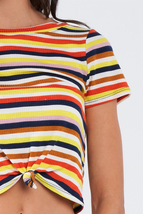 Yellow Retro Chic Multi Stripe Front Knot Crop Short Sleeve Top demochatbot