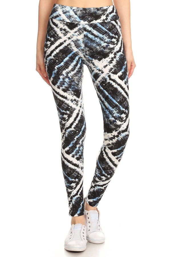 Yoga Style Banded Lined Tie Dye Printed Knit Legging With High Waist Pinky Petals